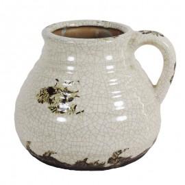 Jarron Ceramica Ancho Blanco
